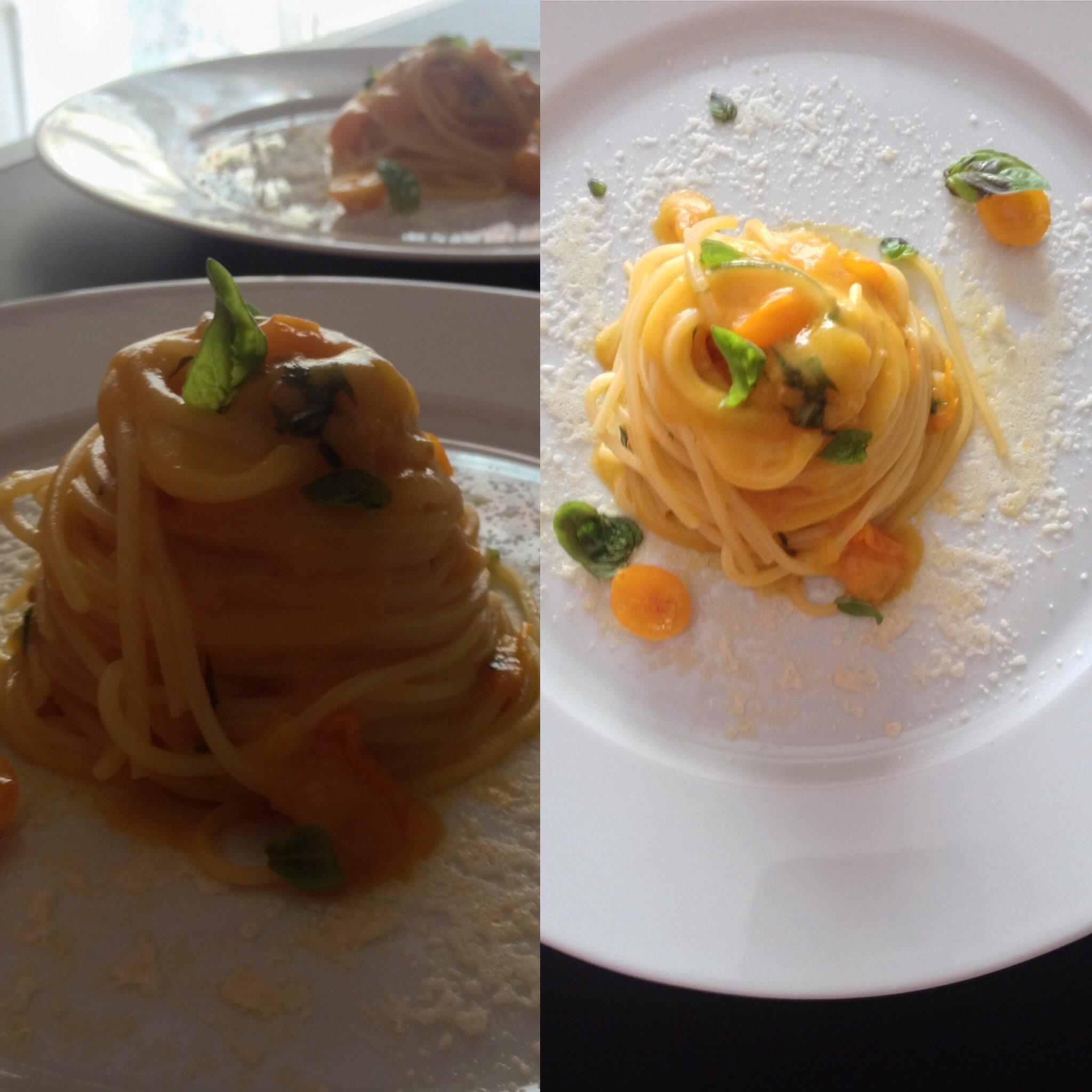 Spaghetto quadrato con datterino giallo, basilico e crosta di parmigiano