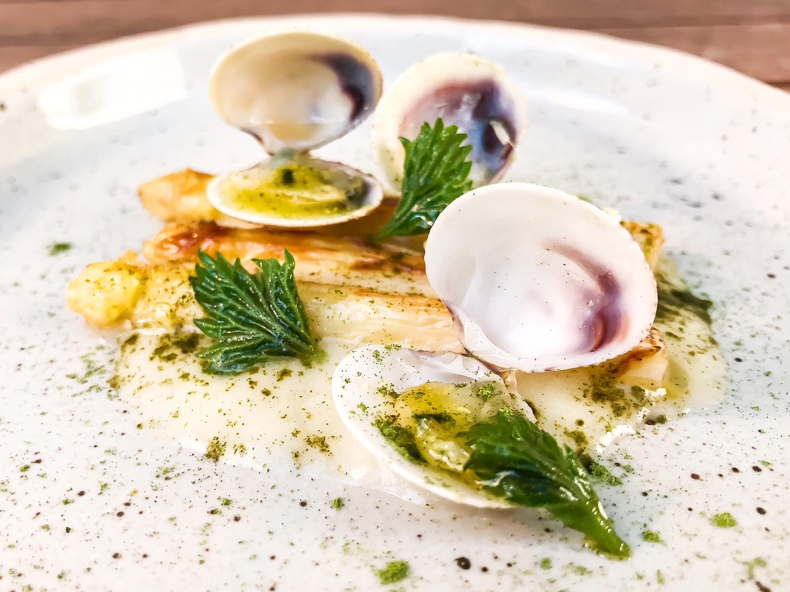 Lupini di mare con asparagi bianchi, ortiche e burro alla mela verde